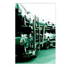 Trailer truck carrying ca Postcards (Package of 8)