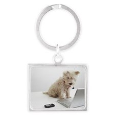 Dog sitting on desk in front of Landscape Keychain