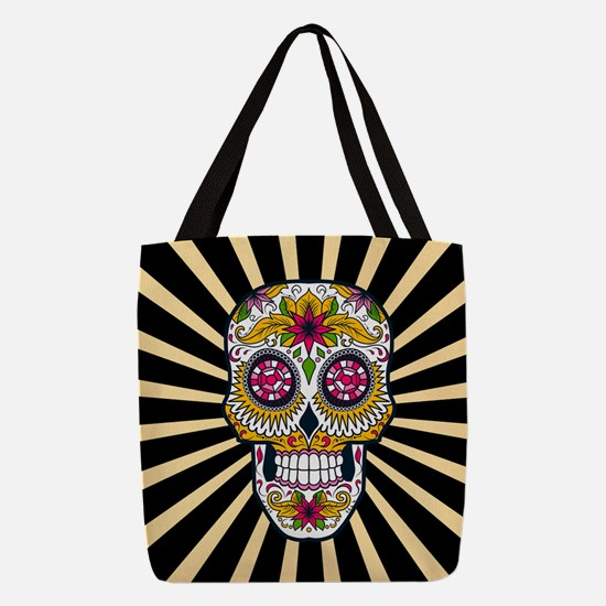 Sugar Skull Polyester Tote Bag