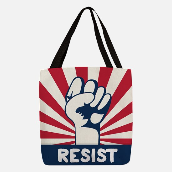 RESIST Fist Polyester Tote Bag