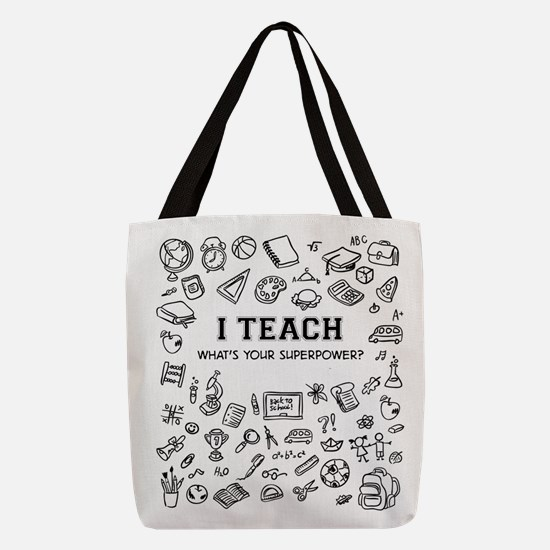 Superhero Teacher Polyester Tote Bag