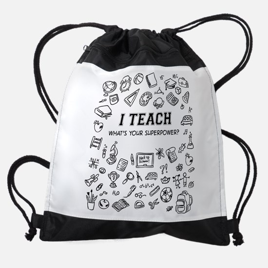 Superhero Teacher Drawstring Bag