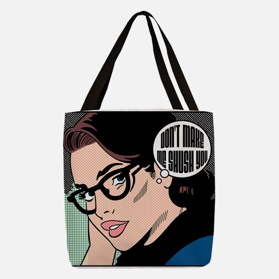 Retro Librarian Humor Polyester Tote Bag