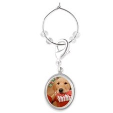 Golden retriever resting head on c Oval Wine Charm