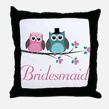 Bridesmaid Wedding Owls Throw Pillow