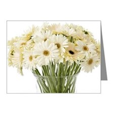 White Gerbera Daisies on Whi Note Cards (Pk of 10)