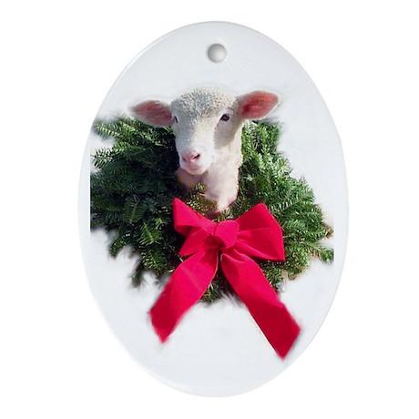 Oval Ewephoric Christmas lamb ornament