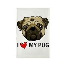 I Heart My Pug Rectangle Magnet