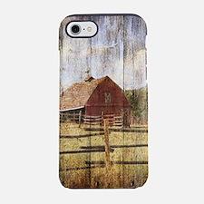 Woodgrain farm red barn iPhone 7 Tough Case