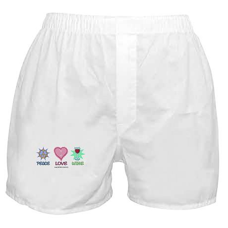 Peace Love & Wine Boxer Shorts