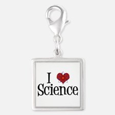 I Love Science Silver Square Charm