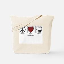 PEACE LOVE & COFFEE Tote Bag