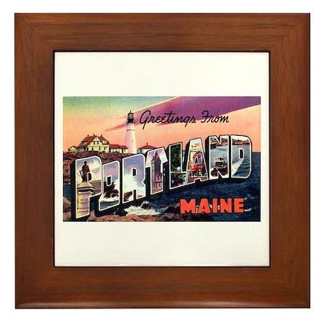 Portland Maine Greetings Framed Tile