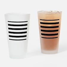 Horizontal Black and White Stripes Drinking Glass