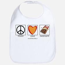 PEACE LOVE & CHOCOLATE Bib