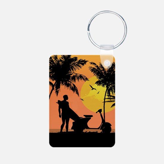 Surfer and scooter at Sunset Keychains