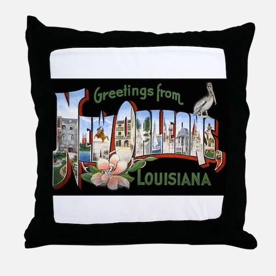 New Orleans Louisiana Greetings Throw Pillow
