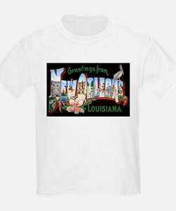 New Orleans Louisiana Greetings (Front) Kids T-Shi