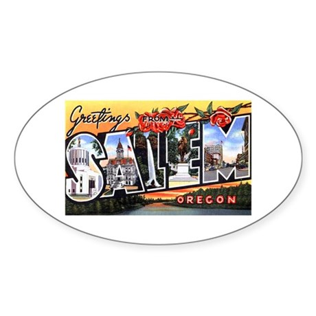 Salem Oregon Greetings Oval Sticker