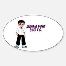 Anime's First Emo Kid Oval Decal