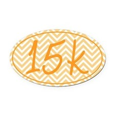 15k Orange Chevron Oval Car Magnet