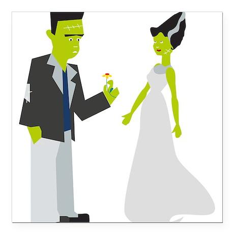 """Frankenstein & Bride Square Car Magnet 3"""" x 3"""""""