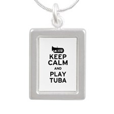Keep Calm and Play Tuba Silver Portrait Necklace