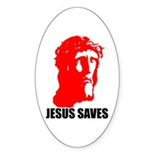 JESUS SAVES Oval Decal
