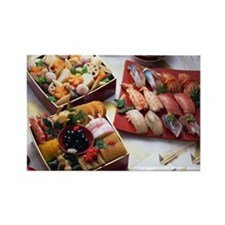 Japanese New Year Dishes and sush Rectangle Magnet