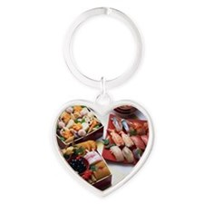Japanese New Year Dishes and sushi Heart Keychain