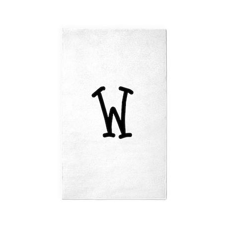 Bookworm Monogram W 3'x5' Area Rug