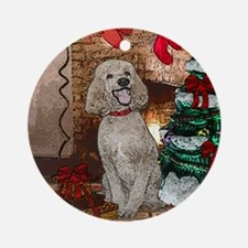 Poodle Christmas Foster Ornament (Round)