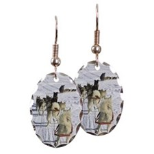 Sled dogs in snow Earring