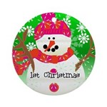 Happy Snowman 1st Christmas Ornament (Round)