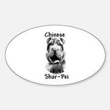Shar Pei Charcoal Oval Decal