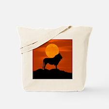 Lion at sunset Tote Bag