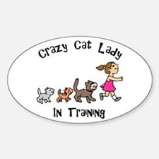 Crazy Cat Lady In Training Oval Decal