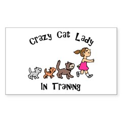 Crazy Cat Lady In Training Rectangle Decal