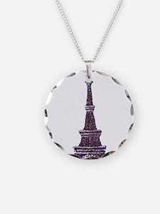 Eiffel Tower Pointillism dots Necklace