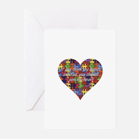 Autism Hands full, See my heart Greeting Cards (Pk