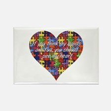 Autism Hands full, See my heart Rectangle Magnet