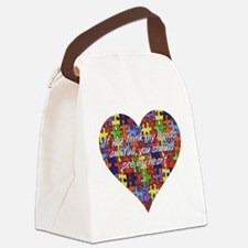 Autism Hands full, See my heart Canvas Lunch Bag