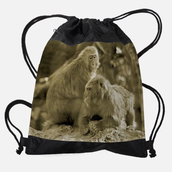 WMacaque_Month.jpg Drawstring Bag