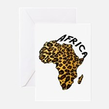 Leopard Africa Map Greeting Cards (Pk of 20)