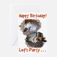 HAPPY BIRTHDAY LETS PARTY GREYHOUND STYLE GREETING