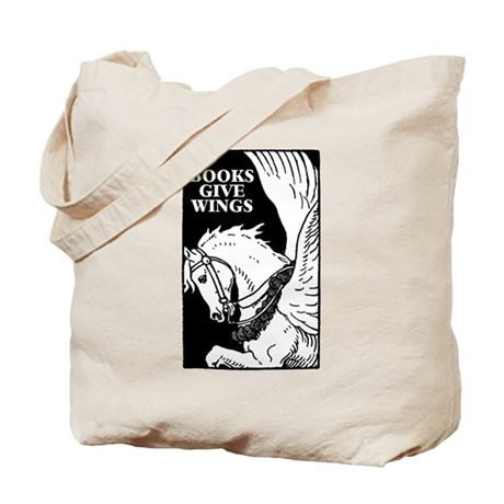 Books Give Wings with Flying Horse Tote Bag
