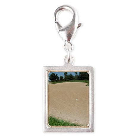 A golf ball in a sand bunker Silver Portrait Charm