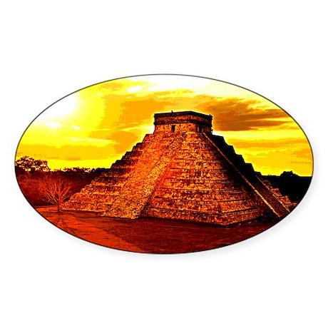 Mayan Temple Oval Sticker