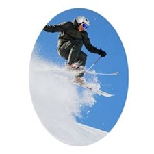 Downhill skier making a jump Ornament (Oval)