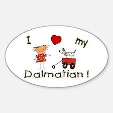Dog Dalmatian Girl Love Oval Decal